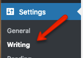 writing link under the settings section of the dashboard's sidebar