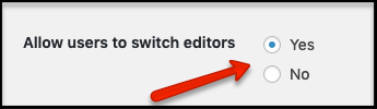 Allow users to switch editors options in the site's reading settings